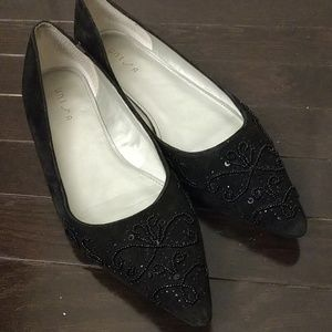 Unisa Ladies Black Suede Beaded Flats Size 9
